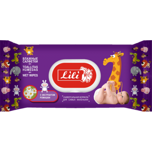 """Влажные салфетки Тм """"Lili"""" с пластиковой крышкой для детей с экстрактом ромашки, 120 шт."""