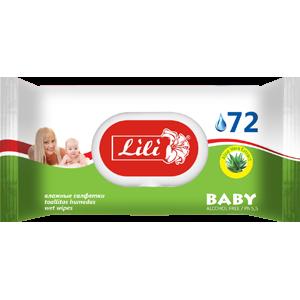 """Влажные салфетки Тм """"Lili"""" с пластиковой крышкой для детей с экстрактом алоэ вера, 72 шт."""