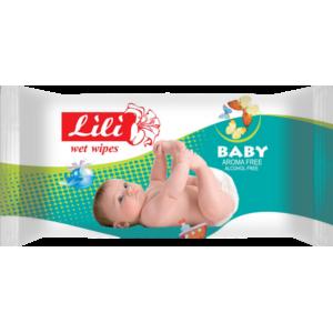 """Влажные салфетки Тм """"Lili"""" для детей с экстрактом календулы и витамином Е, 60 шт."""