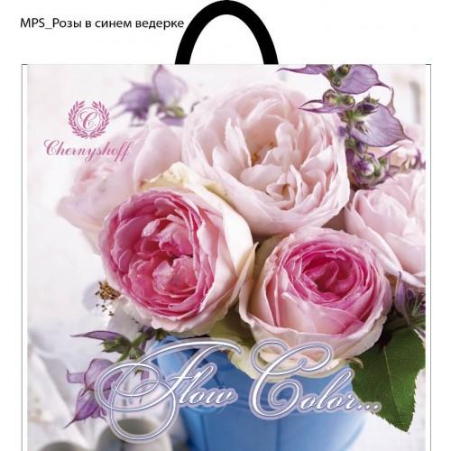 Пакет с петлевой ручкой 38*34 Роза в синем ведерке