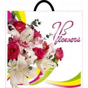 Пакет с петлевой ручкой 395*400 Лилия роза