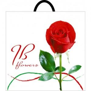 Пакет с петлевой ручкой 395*400 Роза красная