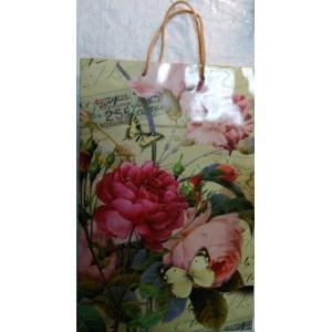 Подарочный пакет 24,8*40,5*9 Бабочки на розе