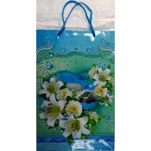 Подарочный пакет 24,8*40,5*9 Кот и цветы
