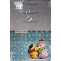 Подарочный пакет 23х22,5х10 Снеговик