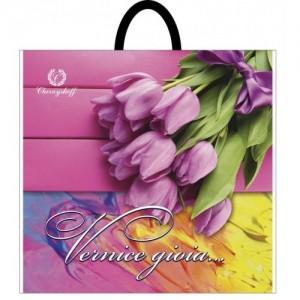 Пакет с пластиковой ручкой 36,5*33 Букет тюльпанов