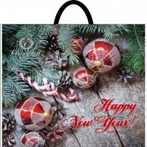 Пакет с пластиковой ручкой 36,5*33 Новогодние шары