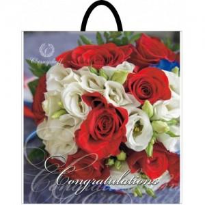 Пакет с пластиковой ручкой 40*48 Букет роз
